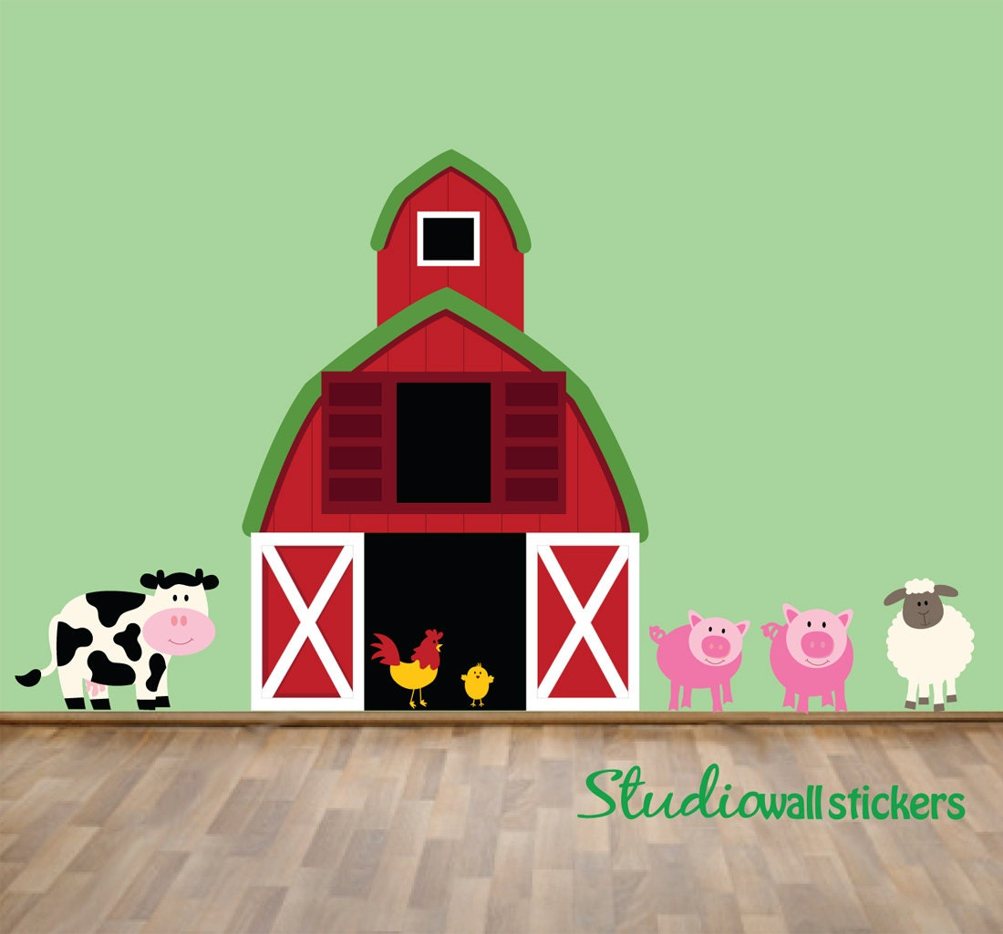 Kids Room Wall Decals Farm Wall Decals Farm Animal Decals: Reusable Farm Wall Decal Childrens Wall Decal