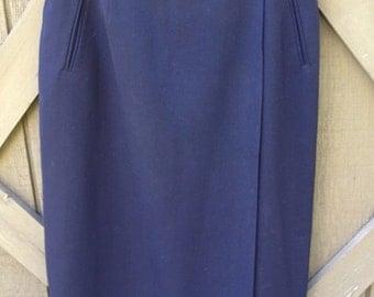 60s Navy Blue Pencil Skirt M 29 Waist