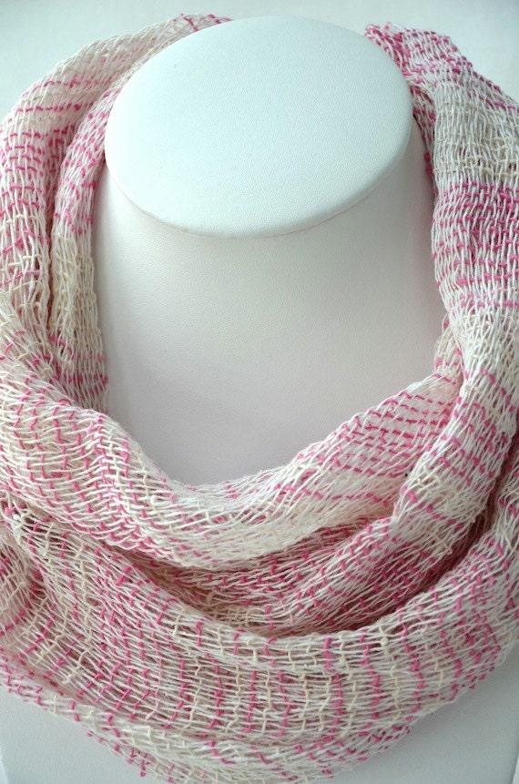 HOT DEAL - 22x75 Bright Pink Soft Cotton Net Scarf Shawl Wrap Bandana CS113