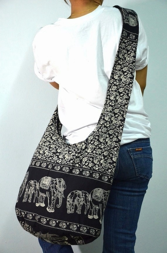 Absolute Black Cotton Printed Standing Elephants Crossbody Shoulder Hippie Boho Hobo Messenger Bag E119