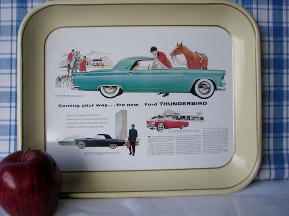 Ford Thunderbird Tray Replica Advert Metal Vintage 1970's