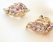 Vintage Earrings with Gold Leaf Motif and Aruroa Borealis Rhinestones