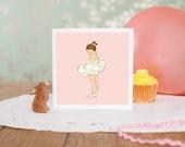 """Ballerina card, Girls card, any occasion card, pink card """"Ballerina"""""""