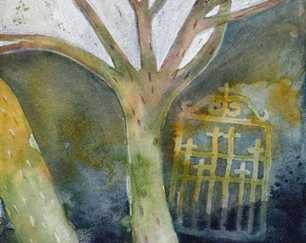 Gate no. 2 - original watercolor painting - surreal fantasy fairytale watercolour - winter tree night scene forest gate - illustration