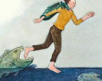 Running on Water - original watercolor painting - surreal fairytale fantasy watercolour - danger fish sea - man escape - narrative story