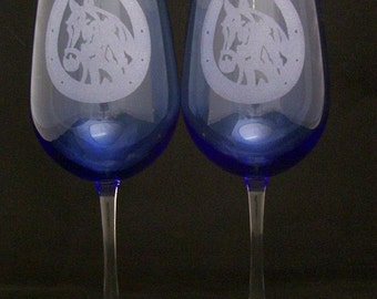 Cobalt Blue Lucky Horse and horse shoe wine glasses Valentines day gifts, Mothers day gifts
