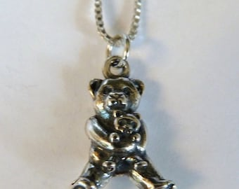 Sterling Silver Teddy Bear Holding Teddy Bear Necklace