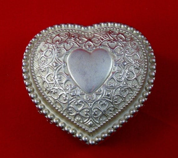 Ornate Repousse Scroll Studded Silver Plate Purple Velvet Heart Shaped Trinket or Jewelry Box