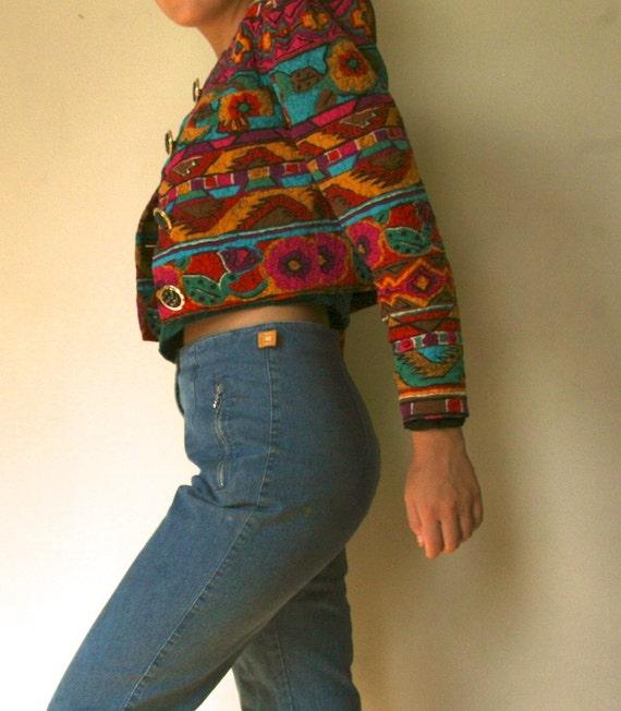 Vintage 80's Colorful Silk Cropped-Jacket