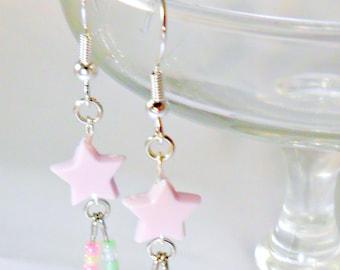 Fairy Kei Shooting Star Earrings, Candy Pastels, Cute & Kawaii :)
