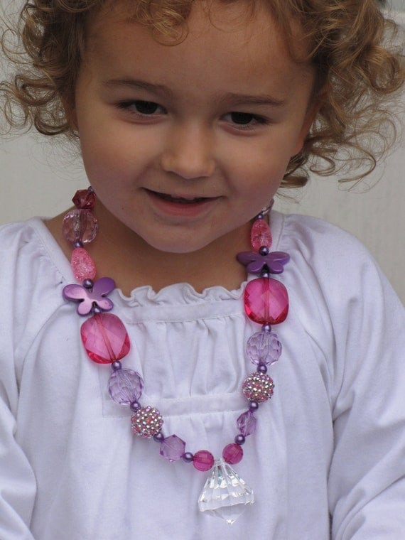 Purple Pink Chunky Toddler Children Necklace