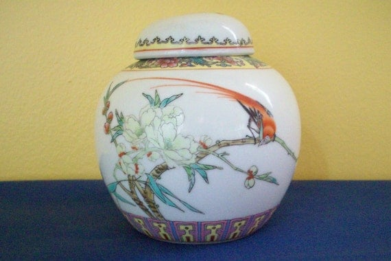 Vintage Chinese Hand Painted Ginger Jar Exotic By Annetteattic