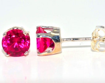 Ruby Round Stud Earrings .925 Sterling Silver Rhodium Finish