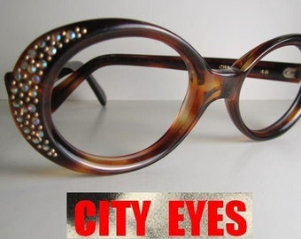 1960s (British Hong Kong) Rhinestone Tortoise vintage frames frame eyeglasses sunglasses eye wear sun glasses mid century hollywood regency