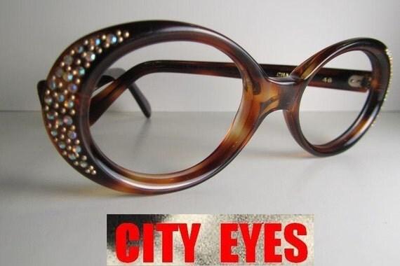 Eyeglasses Frame Hong Kong : 1960s British Hong Kong Rhinestone Tortoise vintage frames