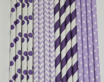 25 Purple Princess  Paper Straw Mix  PAPER STRAWS birthday party bridal shower event cake pop sticks Bonus diy straws flag