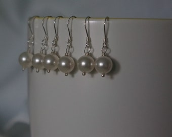 3 Sets Pearl Earrings Silver or Gold Swarovski Pearl White Earrings Wedding Jewelry Bridal Party