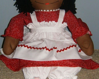 Cranberry Red Dress on African American Raggedy Ann Doll 25 inches tall Personalized Handmade