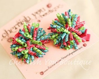 The Confections Mini Korker Hair Bows - Metallic Pink, Lime, and Turquoise Korker Hair Clips