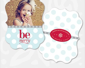 Christmas Card Photoshop Template - Ornate Card - Be Merry Dots - 1018