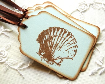 Seashell Tags, Clam Shell Tags -Set of 6 Gift/ Favor Tags (Beach Wedding/ Bridal Shower/ Sweet 16/ Birthday/ Scrapbooks/ Summer Beach Party)