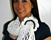 White Cotton Crochet with flower Scarf (with FREE SHIPPING)