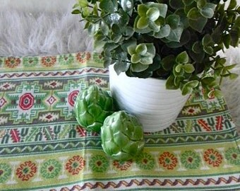 set of four mid century modern cloth place mats