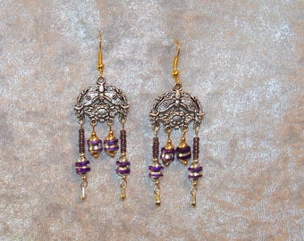 Earrings of Purple and Silver Toned Choice Chandeliers/ Purple Chandelier Earrings/ Silver Chandelier Drop Earrings/ Womens Purple Earrings