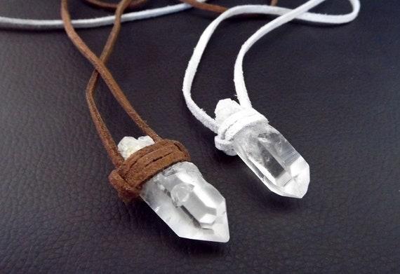 Quartz crystal necklace, unisex necklace, boho necklace, hippie necklace, faux suede, gypsy necklace