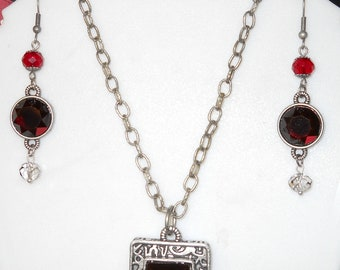 Gothic Vampire Pewter and Red Necklace and Earring set