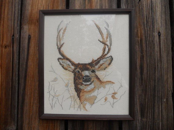 Vintage cross stitched embroidery DEER Framed  embroidery Cross stitched Woodland picture Gift Rustic  Christmas decor