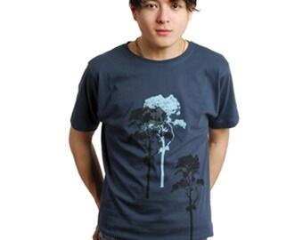 3 Trees Mens denim blue Organic Cotton printed T shirt Scots Pine Trees print