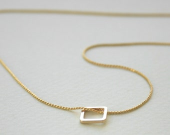Tiny Square Necklace, Gold Necklace, tiny gold necklace, delicate necklace, geometric necklace, charm necklace. geometric jewelry  -050