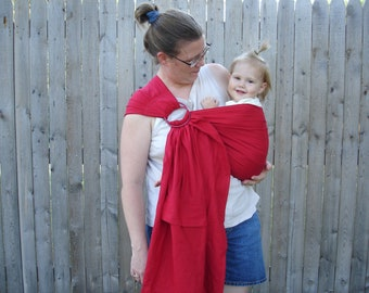 Red 100% linen ring sling for infants and toddlers custom order