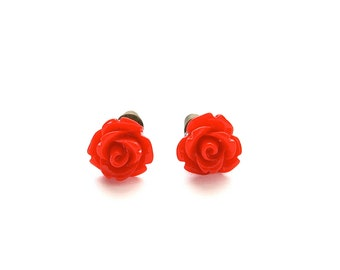 Tiny So Red Rose Earrings, Under 5 Dollars, Valentine's Red, Gift for Her