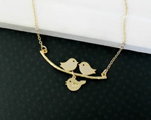 Family Tree Bird Necklace - Love Birds Necklace, Gold Bird Necklace, Baby Bird Family Necklace, Bird Jewelry, New Mother Necklace