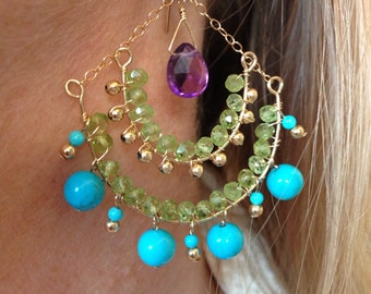 Esmeralda Boho  Turquoise Peridot & Amethyst Earrings