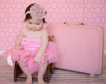 Pink Baby Headband, Pink Grey Baby Headband, Flower Headband, Lace Headband, Chiffon Headband, Flower Headband, Pink Grey Headband