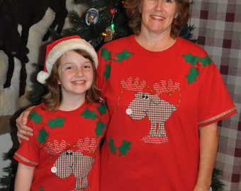 "Reindeer Shirt, Children and Women Christmas Shirt, with ""Ho Ho Ho"" Antlers and Hooves, Fabric Paint"