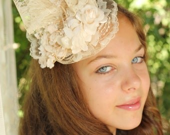 Lace Fascinator Embellished with Ivory Flowers by Ruby & Cordelia's Millinery