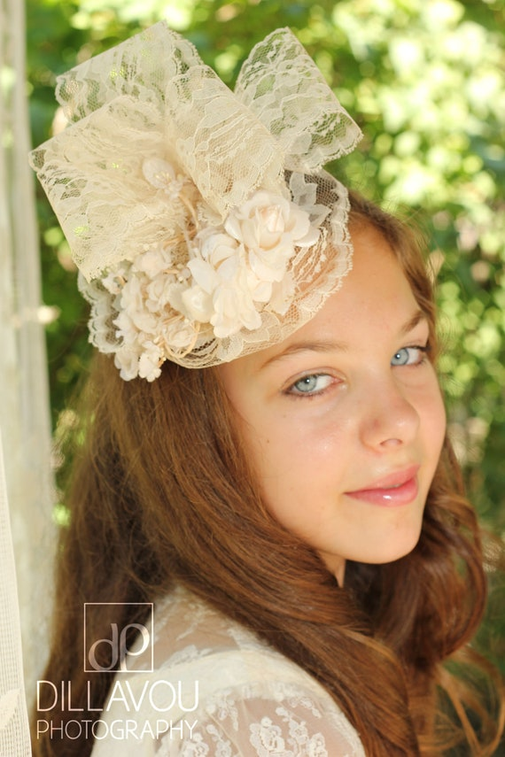Lace Fascinator Embellished with Ivory Flowers