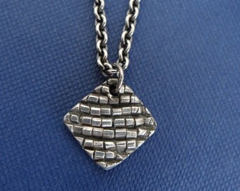 Silver Necklace with Beaded Texture on Cable Chain