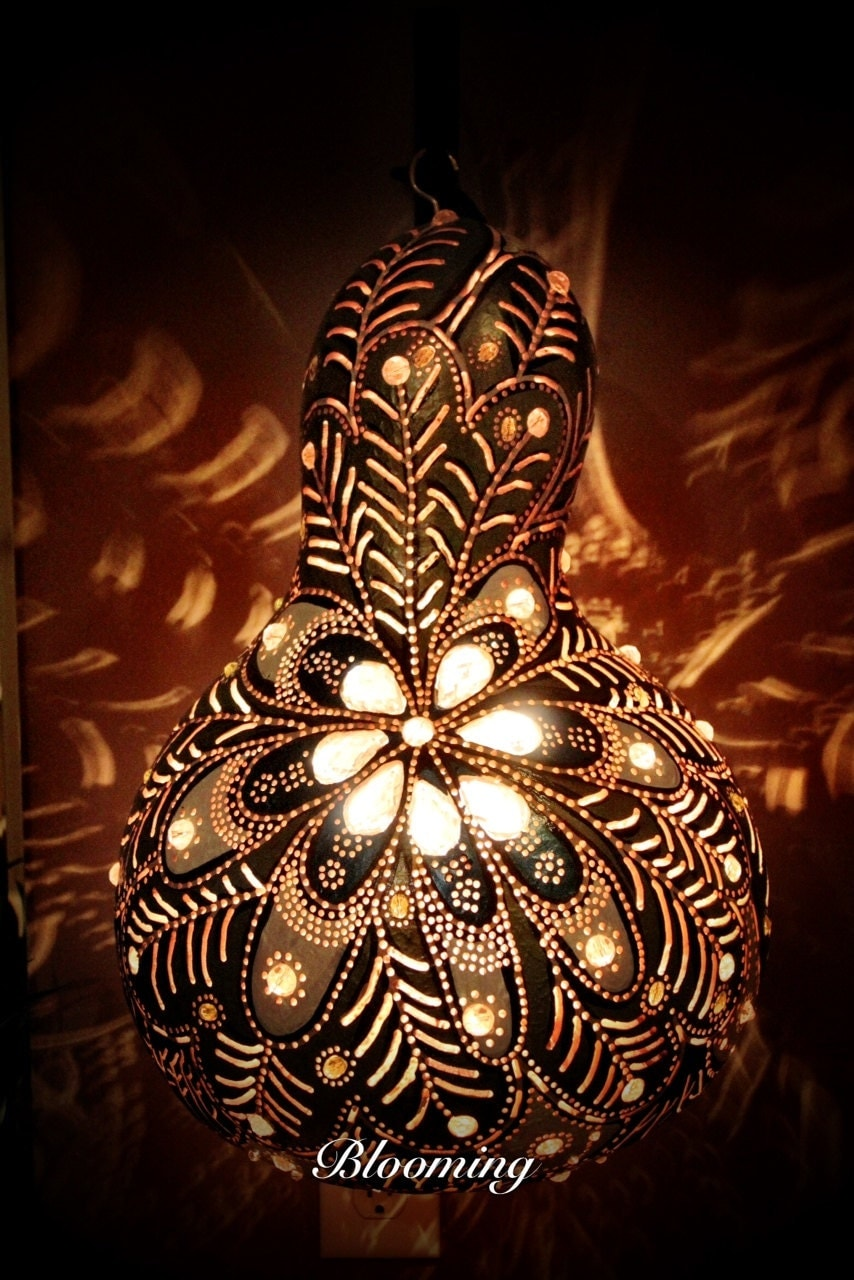 Wall Lamps Drawing : Wall Art Gourd lamp glass beadwork Collectible glass on