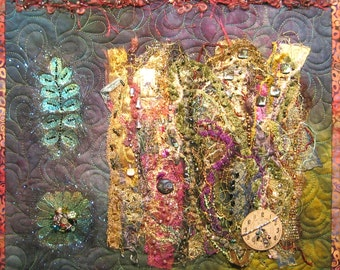 Time To Create Art Quilt - Purple Green Blue Gold Fibers & Beads