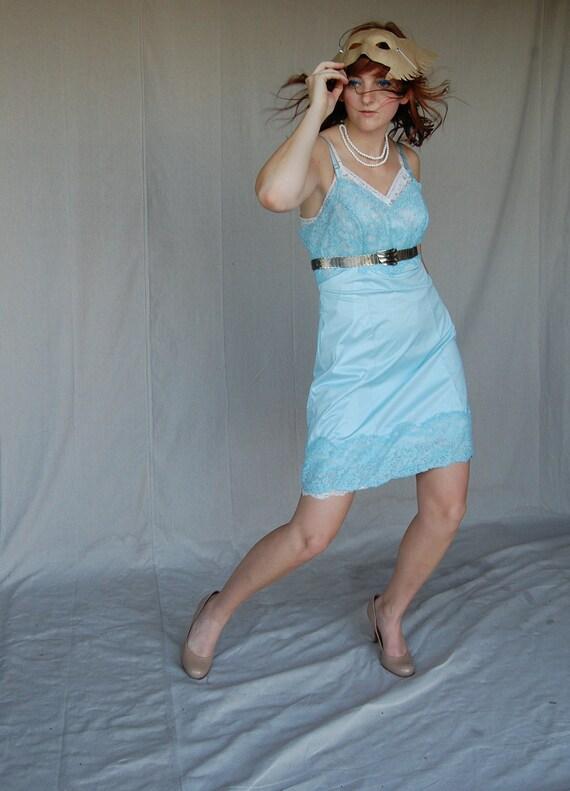 "1950's Soft & Sexy Blue Nylon Peek a Boo Lace Full Slip by Vanity Fair size Large 39' x 30"" x 43"""