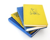 Royal Blue and Yellow Book Collection - Bright Book Decor - Modern Library -  Retro Mod - Vintage Books - VintageScholar