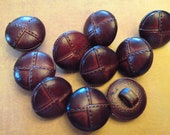 10 Faux Stitched Leather Buttons, red brown color, shank back