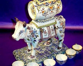Rare ca.1879 Rouen Decor Cow Cordial Decanter w/6 Cups Desvres n Quimper