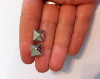 Silver pyramid stud earrings