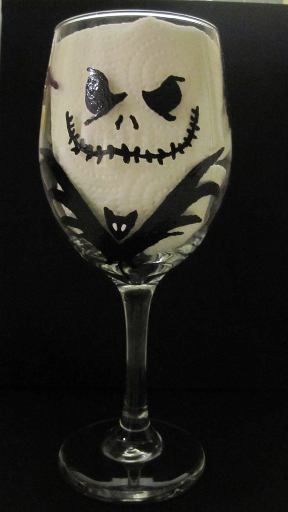 Nightmare Before Christmas Wine Glass by GlassyGlam on Etsy